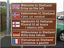 HU4642 : Welcome to Shetland  Drive on the left by Mark Stockdale
