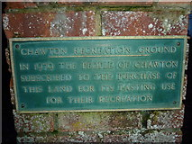 SU7037 : Plaque at the entrance to Chawton Recreation Ground by Basher Eyre