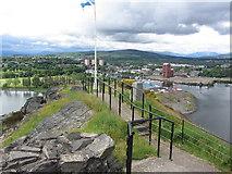 NS3974 : Trig point & flagpole, Dumbarton Rock, Dumbarton Castle by Colin Park