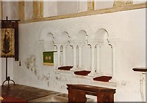 TL7835 : St Nicholas, Castle Hedingham - Piscina & sedilia by John Salmon