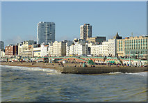 TQ3103 : Brighton beach and seafront west of the pier by Roger  Kidd