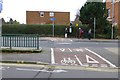 SK5336 : Cycle route crosses Station Road by David Lally