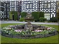SO0897 : Formal flower bed at Gregynog Hall by Penny Mayes