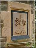 NS3882 : South lodge: crest detail by Lairich Rig