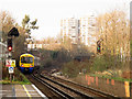 TQ2975 : London Overground train at Voltaire Road Junction by Stephen Craven