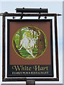TQ5230 : Sign for The White Hart, Crowborough Hill / Church Road, TN6 by Mike Quinn