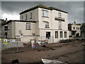 SX9372 : New Quay Inn flood wall nearing completion by Robin Stott