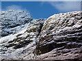 NN2208 : Snowy ravine above Loch Restil by sylvia duckworth