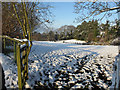 SJ2360 : Nerquis/Nercwys cricket field in the snow by John S Turner