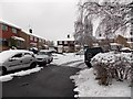 ST3090 : Snowy eastern side of Pinewood Close, Malpas, Newport by Jaggery
