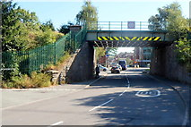 SO4382 : Clun Road passes under a railway bridge, Craven Arms by Jaggery