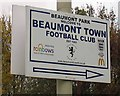 SK5608 : Beaumont Town Football Club sign by Andrew Tatlow
