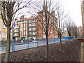 TQ3279 : Trees and blue railings by Stephen Craven