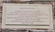 NT4437 : Plaque on Whytbank Tower by Jim Barton