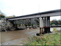 ST5394 : Supporting posts of two Wye bridges, Chepstow by Jaggery