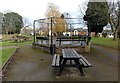 SO6302 : Bandstand and picnic table, Bathurst Park, Lydney by Jaggery