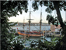 SY6878 : Replica of HM Bark Endeavour at the Commercial Pier, Weymouth by Caroline Tandy