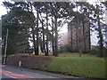 SN5982 : Penglais Road: milestone and university halls of residence by Christopher Hilton
