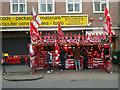 TQ3185 : Football merchandise stall, Holloway by Julian Osley