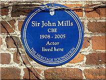 TQ0487 : Blue plaque for Sir John Mills by Alexander P Kapp
