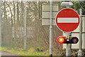 """J2486 : Motorway """"no entry"""" lights, Templepatrick by Albert Bridge"""