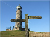SK3455 : Footpath sign on Crich Stand by David Beresford
