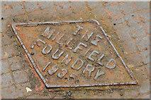 J3479 : Millfield Foundry rodding access cover, Greencastle, Belfast (2) by Albert Bridge