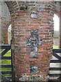 TF8114 : Flint  Cross  in  Brickwork  Castle  Acre  Priory by Martin Dawes