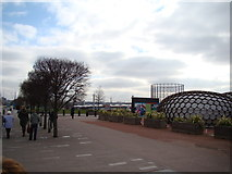 TQ3979 : View over Greenwich, a gasometer on Millennium Way and a sculpture from the path to the Emirates Air Line by Robert Lamb