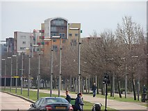TQ3979 : View of flats at the junction of West Parkside and John Harrison Way from the path leading to the Emirates Air Line by Robert Lamb