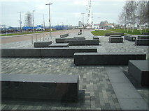 TQ3979 : View of benches by the Emirates Greenwich Peninsula cable car stop f by Robert Lamb