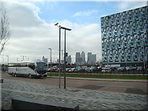 TQ3979 : View of Canary Wharf from the Emirates Greenwich Peninsula cable car stop by Robert Lamb