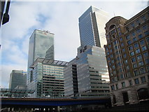 TQ3780 : View of the HSBC Building and One Canada Square from West India Quay #2 by Robert Lamb