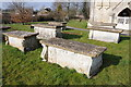 SO8310 : Chest tombs, Harescombe church by Philip Halling
