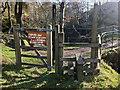 SD9931 : Gate, stile and notice above Lumb Falls, Crimsworth Dean by Phil Champion