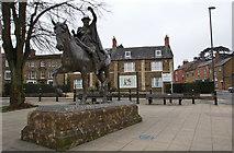 SP4540 : Fine Lady Statue and Plinth at Banbury Cross, Banbury by Christine Matthews