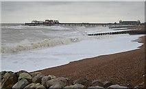 TQ8109 : Rough Sea by Hastings Pier by Julian P Guffogg