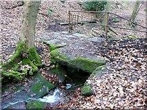 SE0721 : A close view of the footbridge across Crawstone Clough by Humphrey Bolton