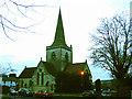 TQ1949 : Christ Church, Brockham Green at dusk by Stephen Craven