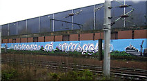 NS5863 : Welcome to Glasgow railway graffiti by Thomas Nugent