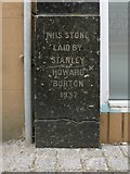 NS3975 : The former Burton's building: foundation stone by Lairich Rig