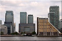 TQ3780 : Canary Wharf from Rotherhithe by Steve Daniels