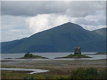 NM9247 : Portnacroish: Castle Stalker from across Loch Laich by Chris Downer