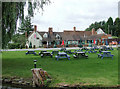 SP1867 : The canalside beer garden at Lowsonford, Warwickshire by Roger  Kidd