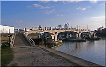 TQ3882 : Pedestrian bridge, Bow Lock by Julian Osley
