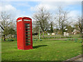TM2885 : K6 telephone box on Homersfield village green by Evelyn Simak