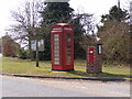 TG0704 : Notice Board, Telephone Box & Kimberley Green Victorian Postbox by Adrian Cable