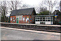 SJ6992 : Shelters old and new at Glazebrook Station by Alan Murray-Rust