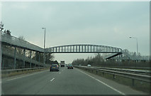 SK1831 : Foston footbridge crossing the A50 by Peter Bond