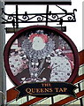 SU1585 : The Queens Tap name sign, Swindon by Jaggery